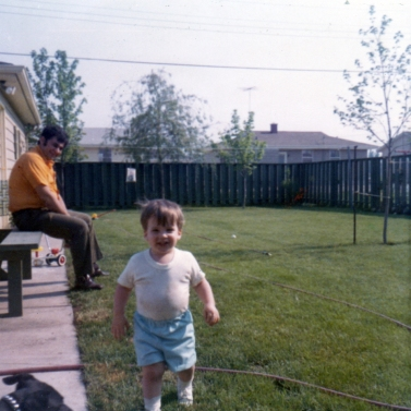Dad and I in the backyard, 1972
