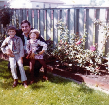 Dad with me and Beth by the roses, 1978