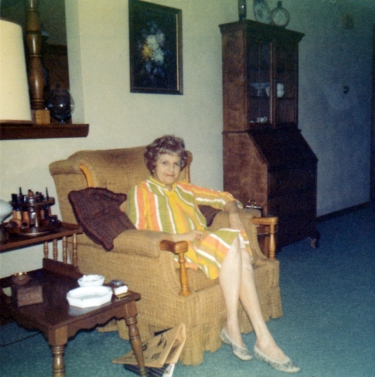 Grandma on Dad's chair, 1970