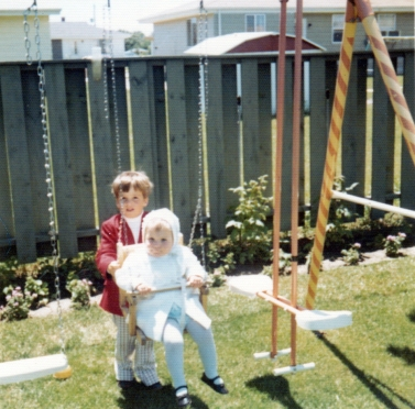 Me with Beth on the swingset, 1974