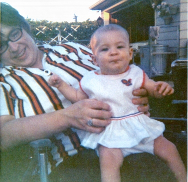 Mom with Beth outside - 1973