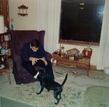 Uncle John and Peanut in the living room, 1968